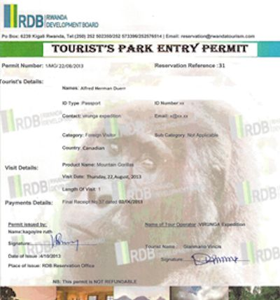 gorilla permit rwanda